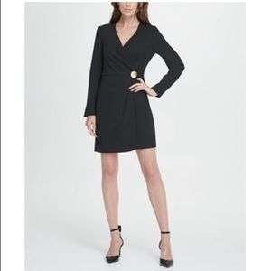 DKNY Long Sleeve Gold Button Coat Dress